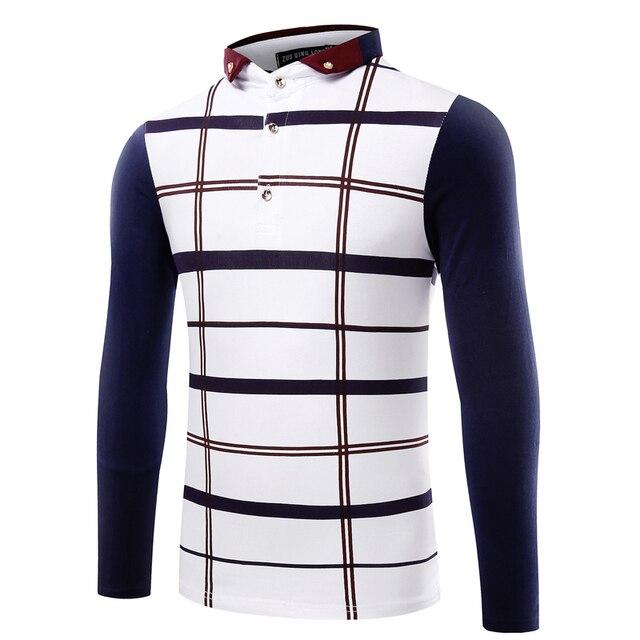 Поло homme марка 2016 мода осень полосатый с длинным рукавом рубашки поло мужчин воротник поло мужчины роскошные размер 3xl