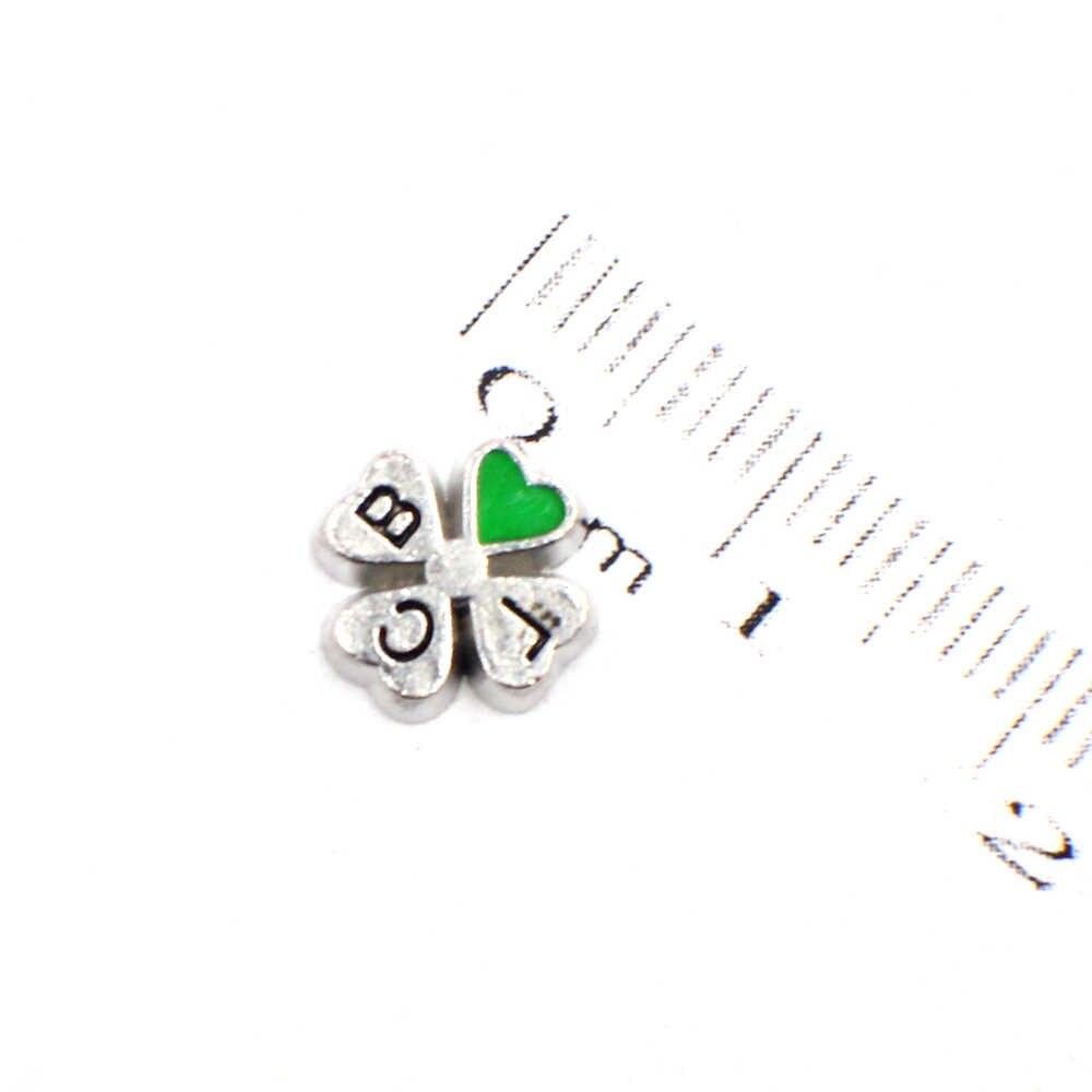 10 cái Màu Xanh Lá Cây Clover FC1560 charms nổi fit cho bộ nhớ locket DIY Phụ Kiện như gia đình trẻ em bạn bè món quà