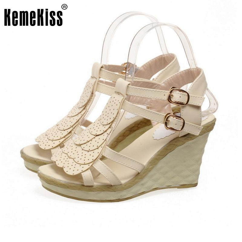 KemeKiss Lady High Wedges Sandals Patchwork Ankel Strap Open Toe Sexy Shoes Women Platform Vacation Female Footwear Size 34-39 high heels gladiator sandals open toe shoes sexy lady pumps woman wedges shoes female platform lady shoes jeans designer wedges