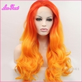 New Fashion Red Orange Synthetic Ombre Lace Front Wig Heat Resistant Long Wavy Two Tone Hair For Anime Cosplay Costume Party