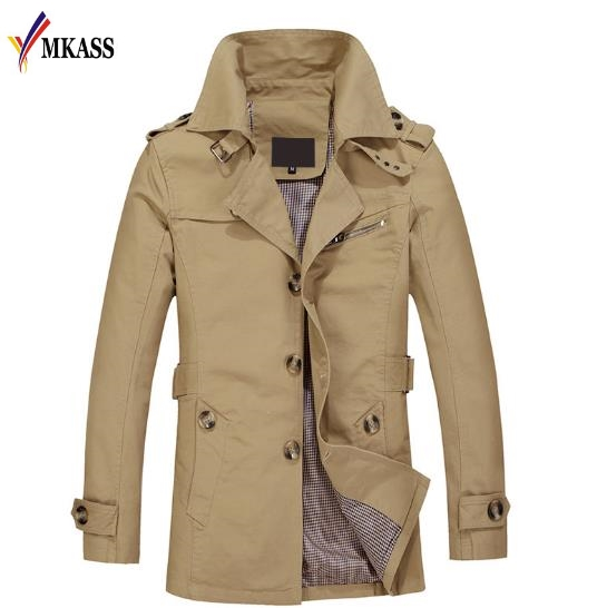 MKASS Brand Classic Fashion Casual Business Men's Trench Coat England Single breasted Long pea coat trenchcoat Mens Slim Fit 5XL