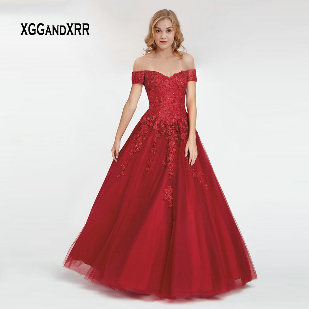 Elegant Burgundy Ball Gown Prom Dress 2019 Sexy off Shoulder Long Evening Dress Lace Applique Short Sleeves Formal Party Gown