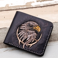 Hand made Short Carving Eagle Wallets Purses Men Vegetable Tanned Leather Wallet Card Holder Souvenir Gift Customization