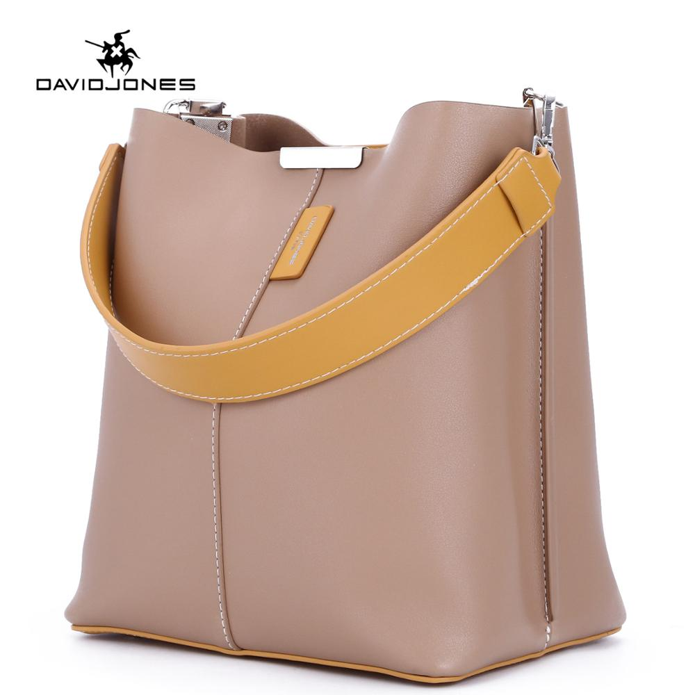 DAVIDJONES women tote bags pu leather female shoulder bags big lady solid bucket bags girl brand