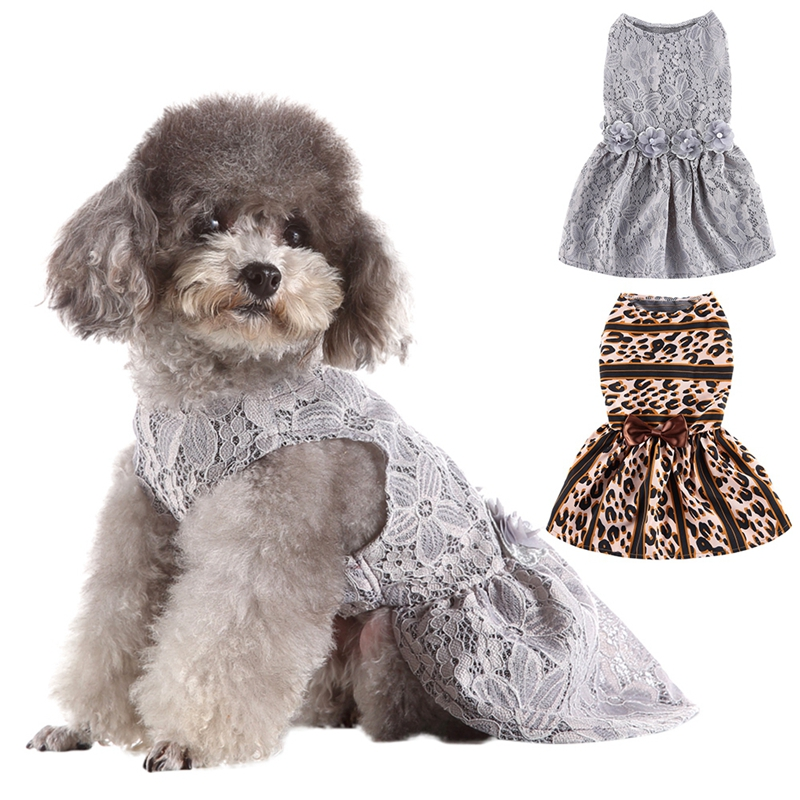 <font><b>Dog</b></font> <font><b>Dress</b></font> <font><b>Dog</b></font> Clothes Leopard Print Sexy <font><b>Dog</b></font> <font><b>Harness</b></font> <font><b>Dress</b></font> Pet Spring Summer Clothes Vest Shirts Lace <font><b>Dress</b></font> image
