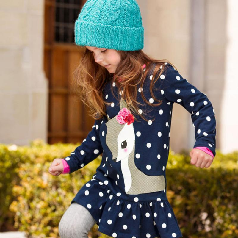 New Year Dresses for Girls Cartoon Deer Children Winter Dress Long Sleeve Tunic Dot Print Children Tops Clothes 2