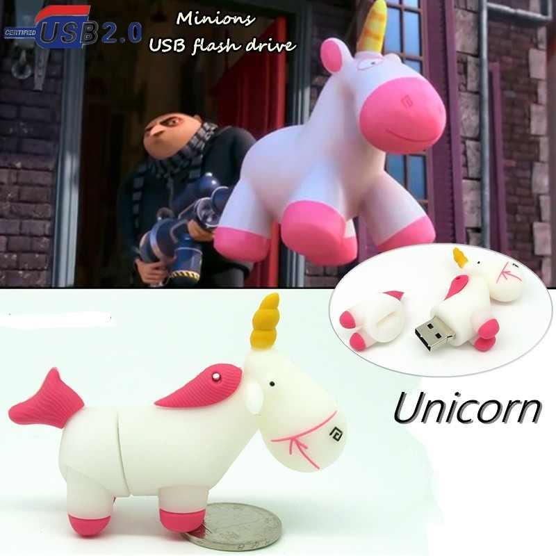 Del fumetto bianco minion Unicorno pendrive usb flash drive di capacità reale cavallo carino pen drive di memoria flash disc di U 4g 8g 16g 32G