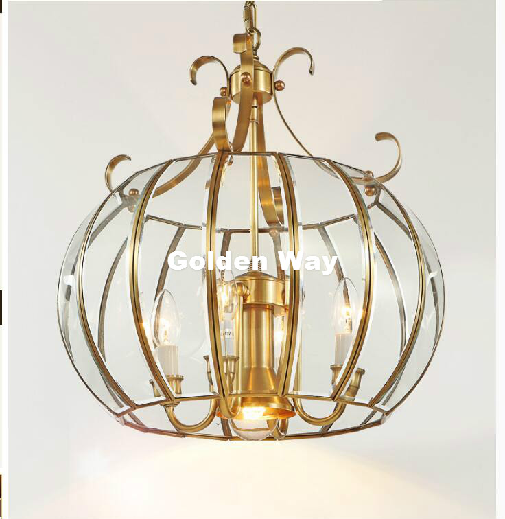 Free Shipping 4L D430mm H490mm 40W Brass Pendant Lamp, 4Lights, Vintage 100% Copper Glass AC110V/220V Glass Shade Pendant Light