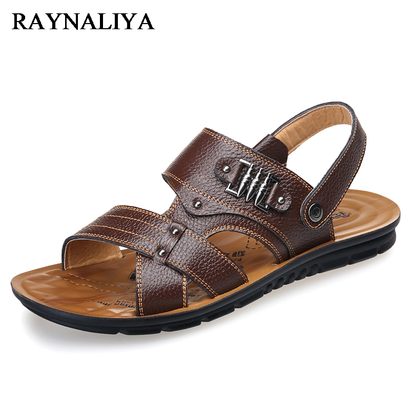Mens Sandals Breathable Summer 2018 New Split Leather Leisure Outdoor Beach Sandals Large Size Mens Shoes Sandals BH-C0115