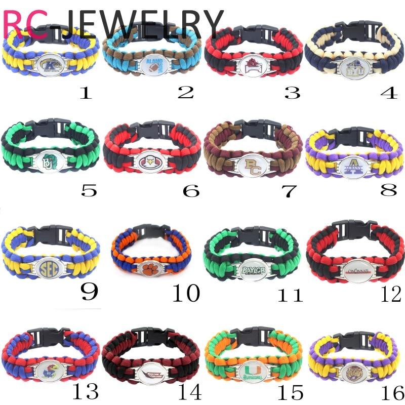 4# University Football Jewelry NCAA BYU Cougars Outdoors Survival Bracelet Custom Paracord Bracelet