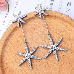 Completo, de lujo copo de nieve de cristal estrella pendientes para las mujeres joyería de moda Boho declaración pendientes accesorios de regalo