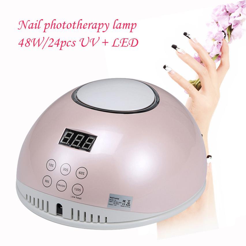 1PC nail led lamp 48W Automatic Sensor Profi LED UV Nail Lamp Nail Dryer NEW F4S nail phototherapy lamp EU Plug 5U1218 makartt ultrared automatic sensor nail dryer warm