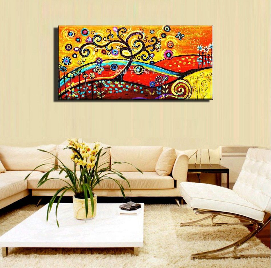 Large orange handmade kids room tree of life abstract canvas wall ...