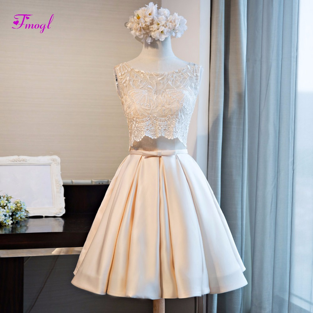 Fmogl New Design Scoop Neck Lace Up Two Piece Taffeta   Cocktail     Dresses   2019 Graceful Appliques Short Prom Party   Dress   Hot Sale