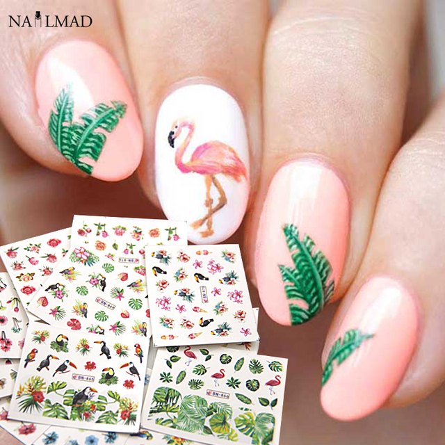 12sheets Cheese Plant Nail Water Decals Tropical Leaf Nail Stickers