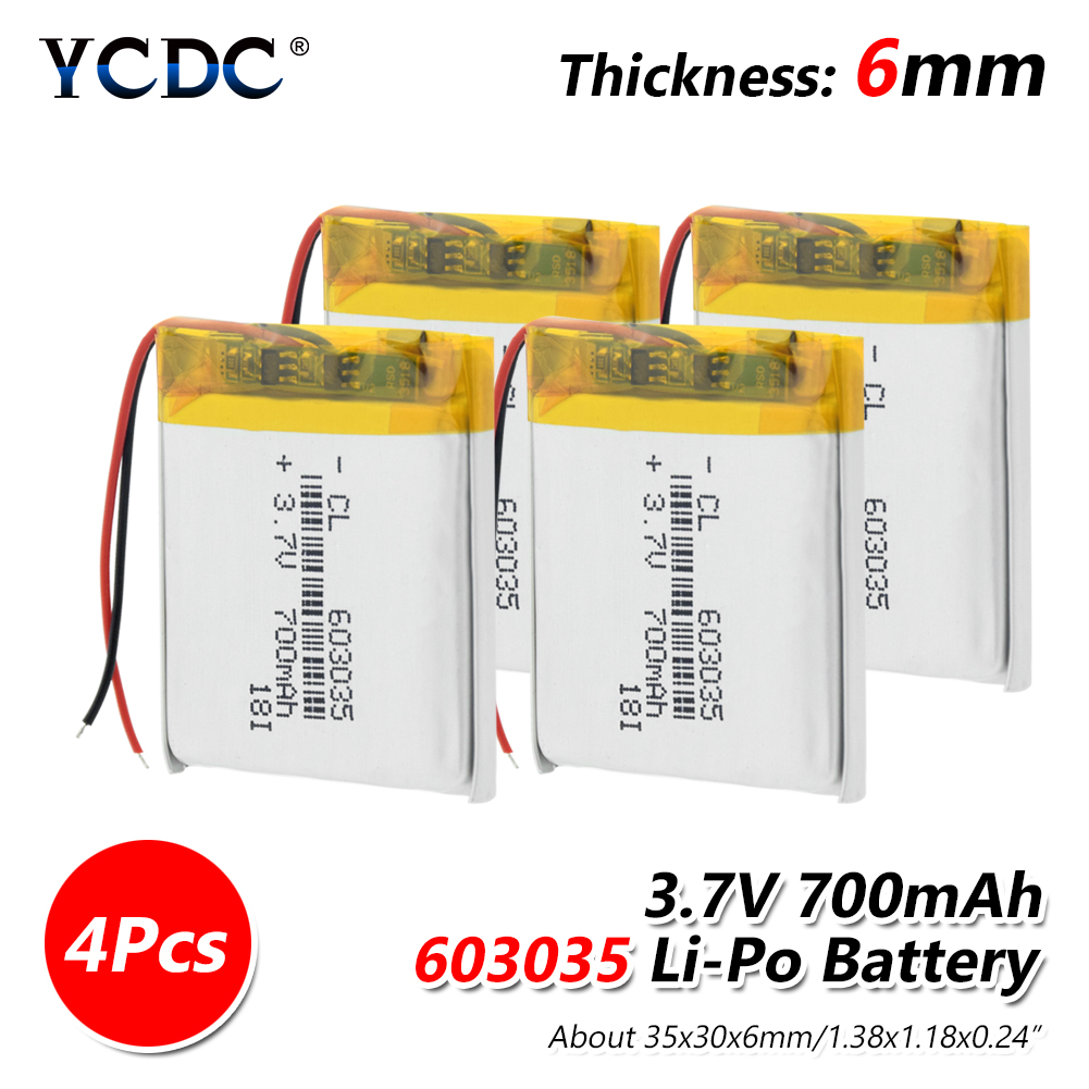 <font><b>3.7V</b></font> <font><b>700mAh</b></font> 603035 <font><b>Lipo</b></font> <font><b>Battery</b></font> Li-Po Polymer <font><b>Battery</b></font> cells Lithium li-ion <font><b>Lipo</b></font> For Toy MP3 MP4 GPS Speaker Smart Home Device image