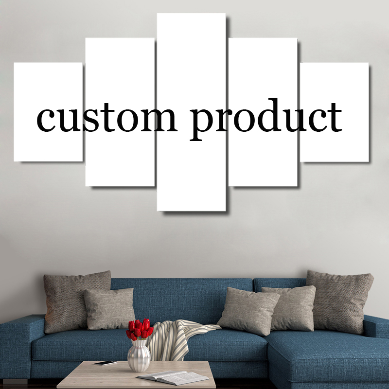 Hd printed modern abstract canvas 5 panel custom painting for 10x20 living room