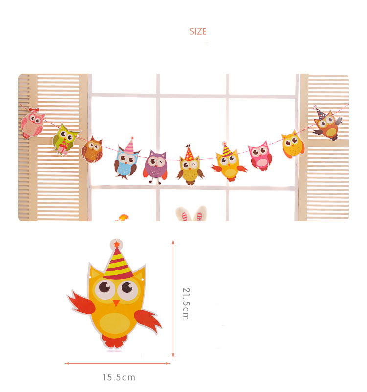 Animal Family Owl Happy Birthday Flag Card Party Decoration