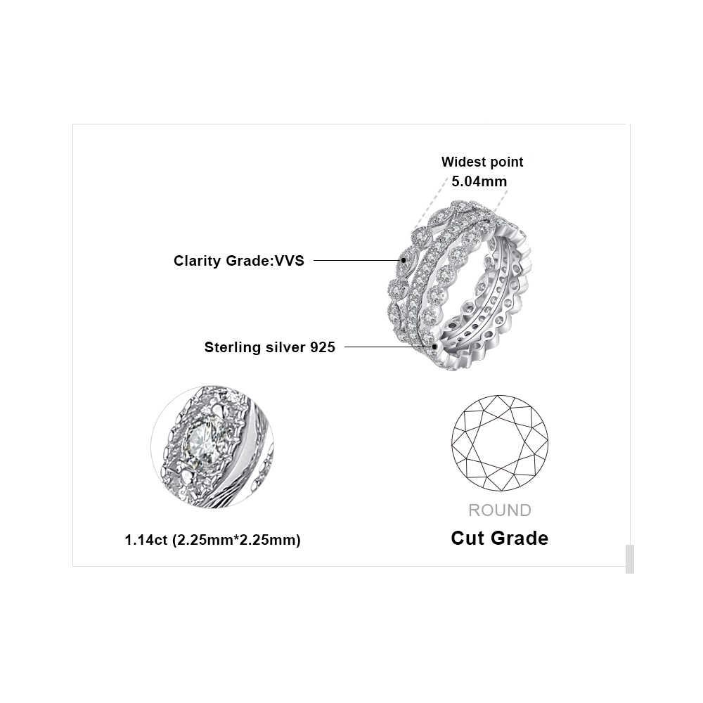 Conjuntos De Anéis De Casamento Jpalace 925 Esterlina Anéis de Prata para As Mulheres Aniversário Eternidade Empilhável Conjunto Anel de Banda de Prata 925 Jóias