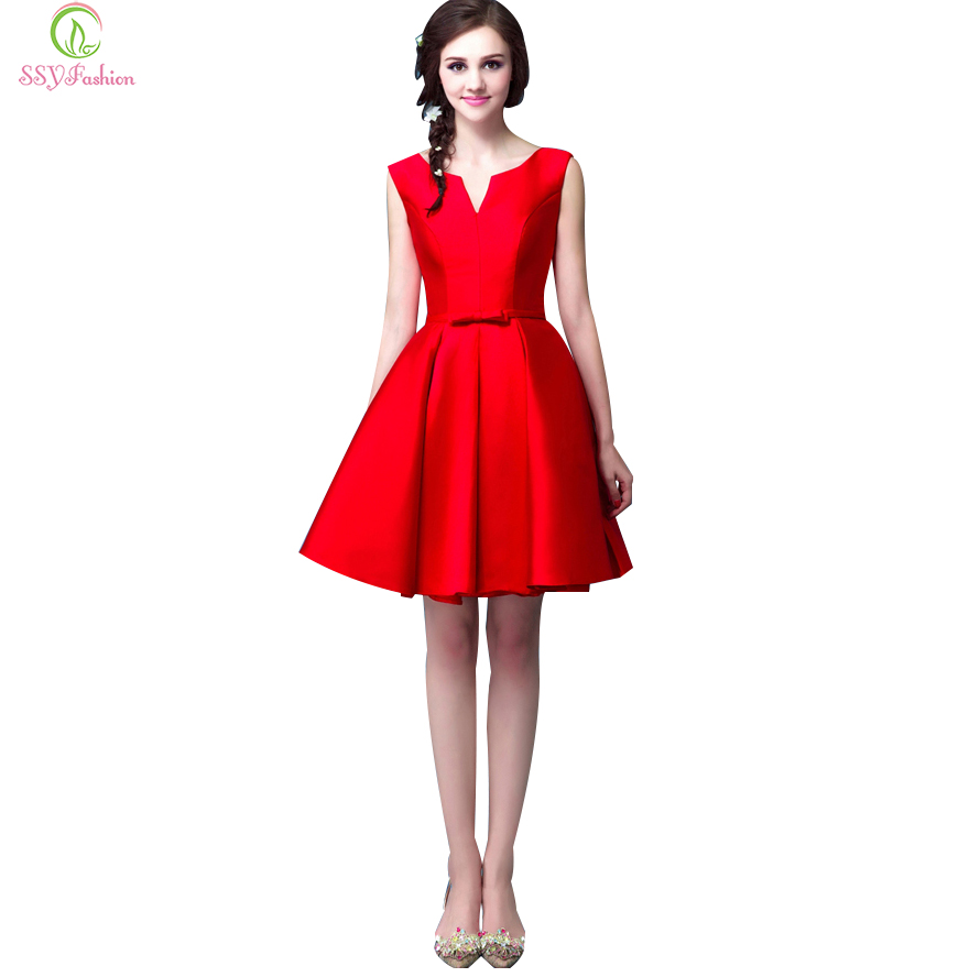 Sincere Free Shipping New Fashion 2018 Hot Seller Handmade A-line Elegant Vestidos Gown Custom Size Short Party Bandage Bridesmaid Dress 100% High Quality Materials Wedding Party Dress