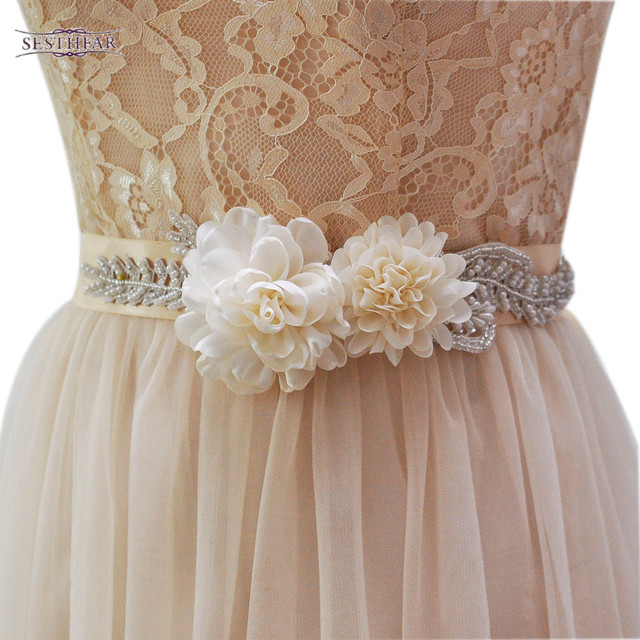 Women S S251 Handmade Beautiful Flowers Wedding Evening Dress Sash Belts Bridal Bride Belt Sashes For The