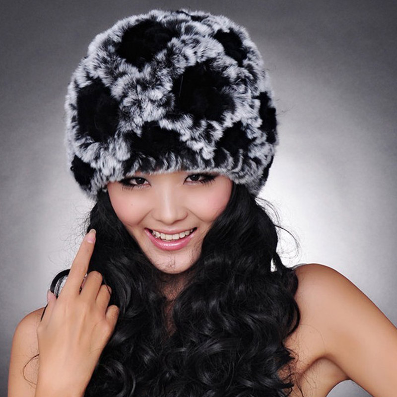 Natural Genuine Real Rabbit Fur Women Winter Knitted Plaid Flower Pattern Caps