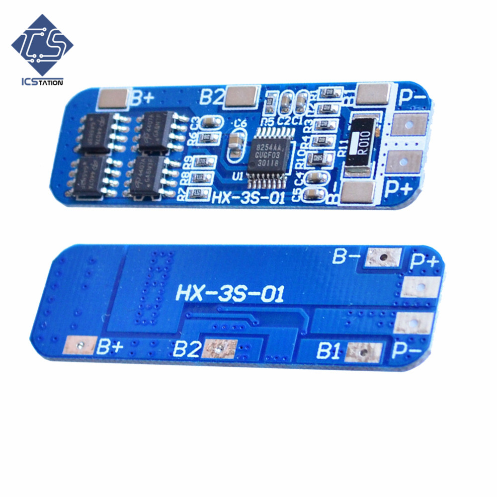 5PCS 12V 10A 3S Li-ion Lithium Battery Cell 50x21x1mm Lithium Battery Protection Board Circuit Board Module for 3pcs 18650 protection circuit 4s 30a bms pcm pcb battery protection board for 14 8v li ion lithium battery cell pack sh04030029 lb4s30a