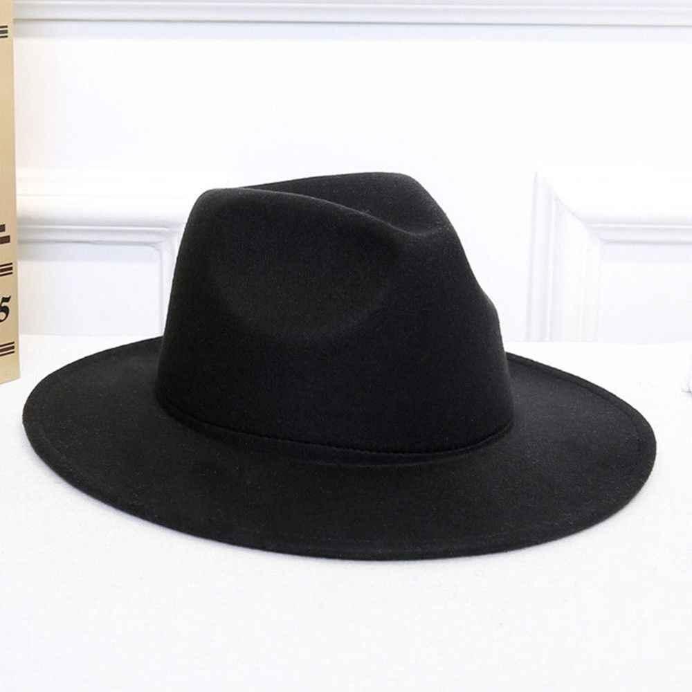 b30d8e10f8c 1PC Fashion Men Women Sun Hat Wide Cap Brim Floppy Hat Autumn Winter Cowboy Wool  Felt