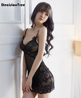 2019 summer Lingerie Sexy Hot Erotic Sex Underwear Women See Through Lace Mesh Babydoll Chemise Nightgown Female