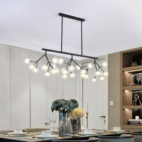 Nordic Designer Art Tree Branch Led Firefly Chandeliers Creative Dining Room Lights Coffee Shop Loft Hanging Light Glass Fixture