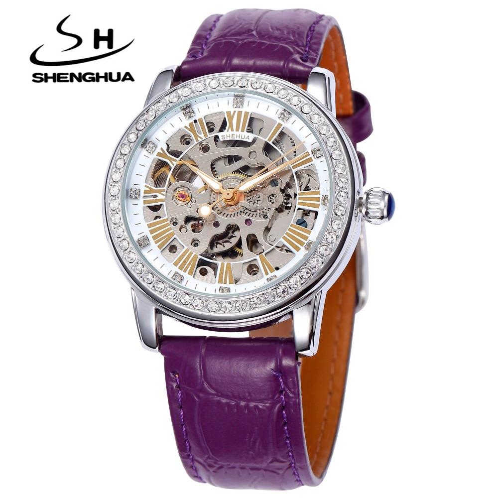 SHENHUA SH Brand Wrist Watch Women Skeleton Automatic Self-Wind Watches for women Rhinestone Ladies Mechanical Watch Nice Gift все цены