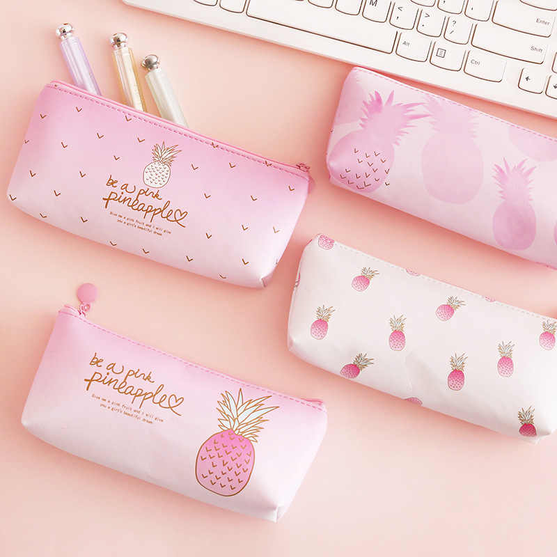 1 Pcs Kawaii Pu Pencil Case Pineapple Gift Estuches School Pencil Box Pencilcase Pencil Bag School Supplies Stationery