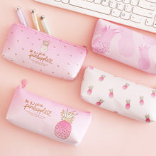 1 Pcs Kawaii Pu Pencil Case Pineapple Gift Estuches School Pencil Box Pencilcase Pencil Bag School Supplies Stationery(China)