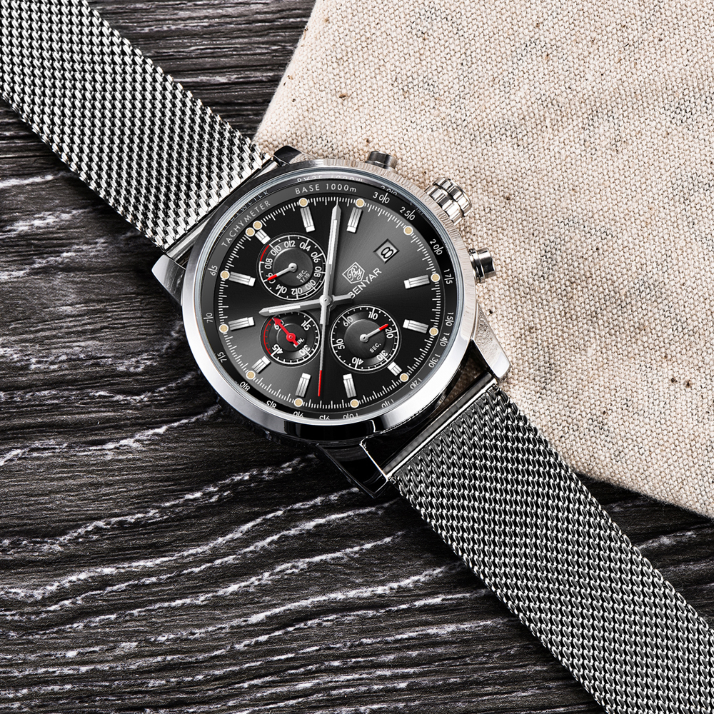 Image 5 - Benyar Men Watch Top Brand Luxury Male Mesh Quartz Chronograph Military Waterproof Wrist Watch Men Sport Clock relojes hombre-in Quartz Watches from Watches