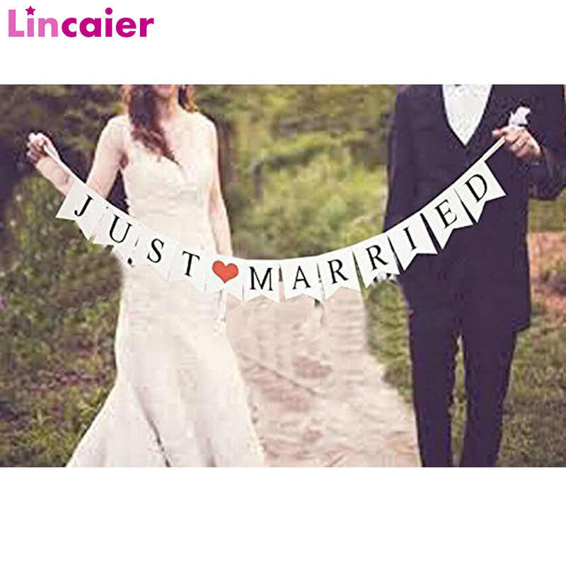 Lincaier White Just Married Wedding Bunting Banner Photo Booth Props Romantic Paty Paper Photobooth Decoration