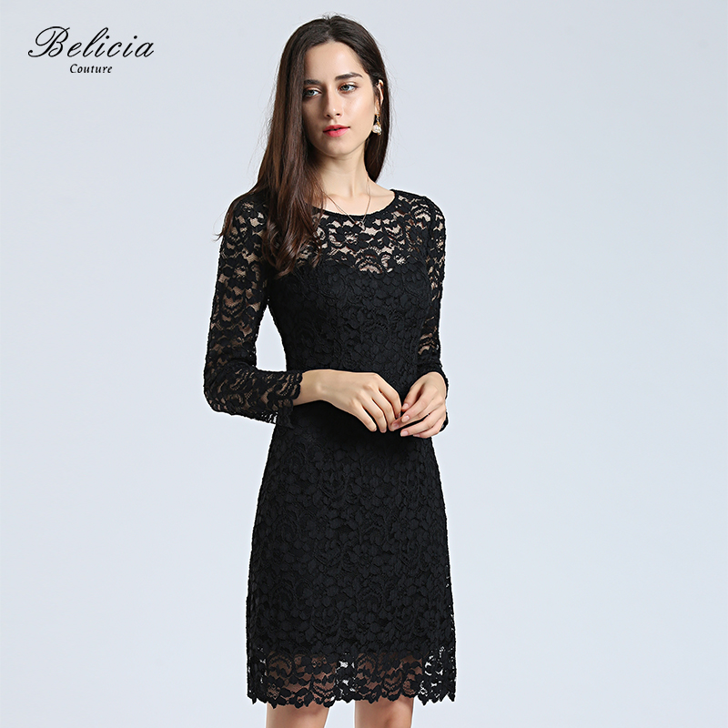 Belicia Couture Women Lace Cocktail Dresses Round Neck A Line Black Long  Sleeves Wedding Party Formal Dress Short Prom Dress-in Cocktail Dresses from  ... fe81ccbcfa3e