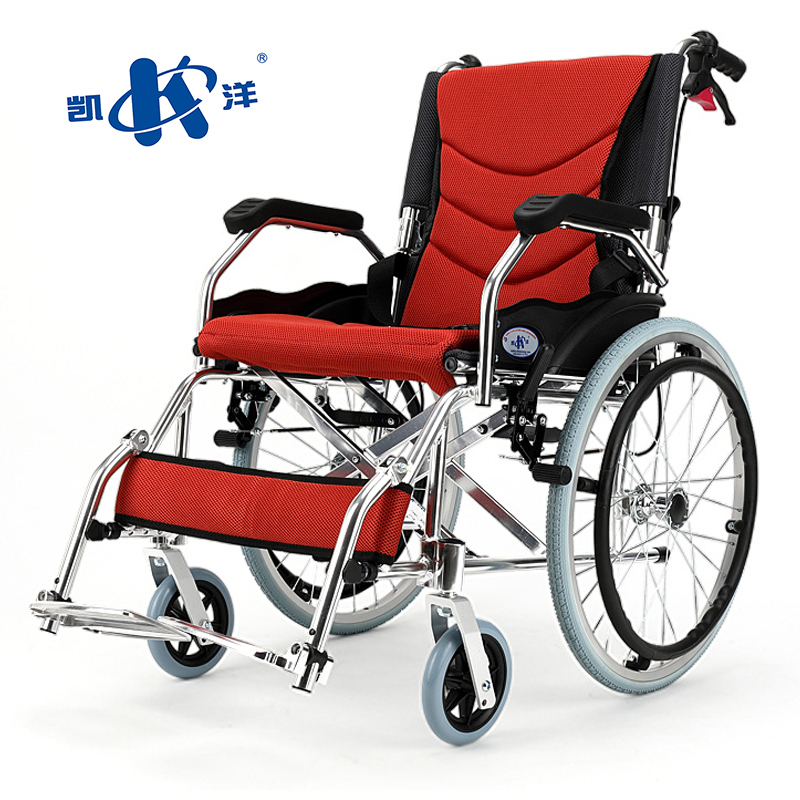 Kai Yang Aluminum Wheelchair With Foldable Backest For Elderly Portable Disabled Wheelchair Patient Folding Wheelchairs outdoor folding power motorized handicapped electric wheelchair