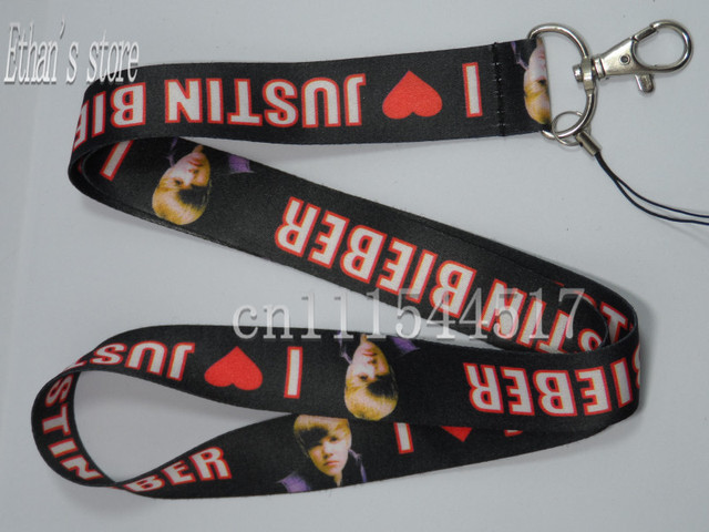 Brand new i love Justin Bieber lanyards star songer keychains  for collection +free shipping