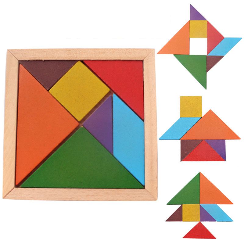 Wooden Tangram Jigsaw Puzzle Multicolour Wood Geometric Shape DIY Puzzle IQ Game Intelligent Educational Learning Toys For Kids in Puzzles from Toys Hobbies