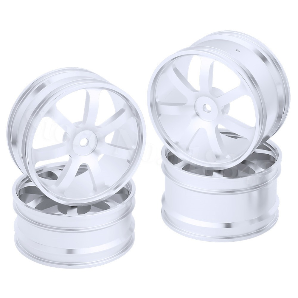 4PCS Front & Rear Aluminum Wheel Rims 12mm Hex Hub Diameter:62mm 7 Spokes CNC For HSP Redcat Exceed RC 1/10 Off Road Buggy front hub city road lion disc brakes front wheel tire rims