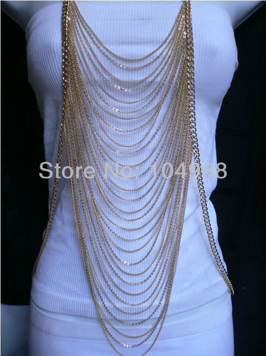 2013 WINTER ARRIVALS BEAUTIFUL WOMEN GOLD/SILVER MULTI LAYERS CHAINS WAVES METAL BODY FASHION JEWELRY LONG NECKLACE