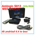 4 K M8S Android TV Box Amlogic S812 2 Gb / 8 Gb Android 4.4 kitkat KODI precargado 2.4 G / 5 G WiFi Bluetooth M8 actualización Media Player