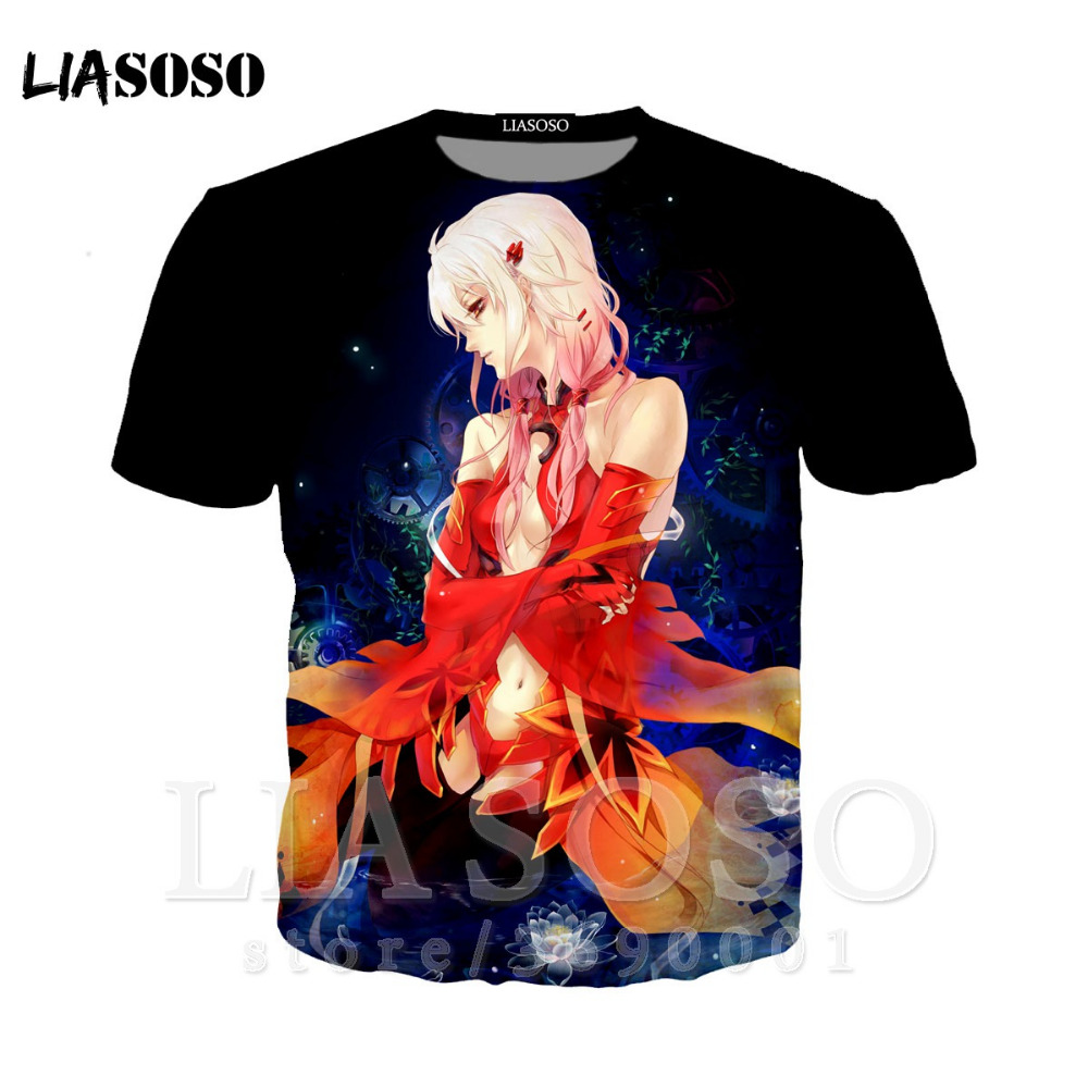 LIASOSO 3D Print Women Men Anime <font><b>Guilty</b></font> <font><b>Crown</b></font> SHINOMIYA AYASE YUZURIHA INORI <font><b>Tshirt</b></font> Summer T-shirt Cool Casual Tops X1333 image