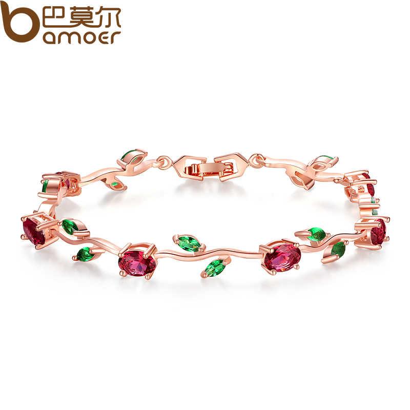 BAMOER różowe złoto kolor liść łańcuch i Link bransoletka z czerwonym + zielonym AAA cyrkon na prezenty dla matki biżuteria JIB072
