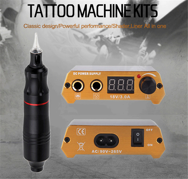 Biomaser Professional Tattoo Kits Rotary Gun Adjust Tattoo Power Supply Tattoo Pen Machine Set LCD Mini