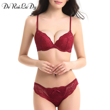DeRuiLaDy Intimates bra set Secret Brand Conjuntos Women Cotton Lace Embroidery Sexy Lingerie Bra set Push up Underwear Set