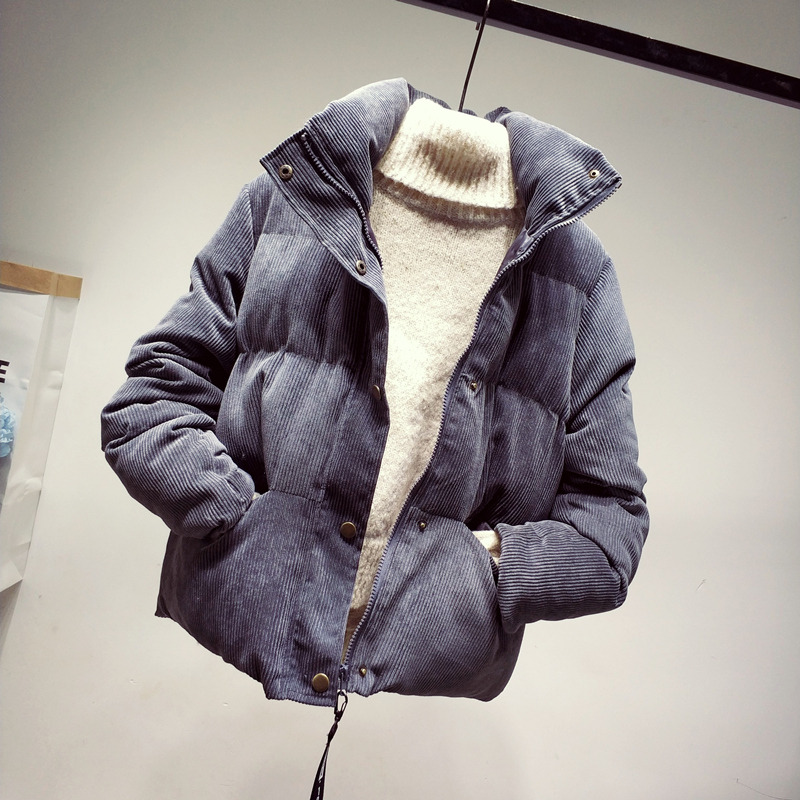 Fashion Autumn Winter Corduroy Jacket Women Loose Thick Cotton Down Parkas Padded Coat Female Slim Short Jackets Outwear SF1105(China)