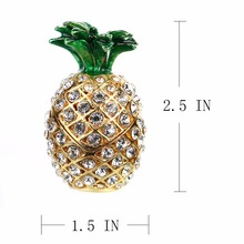 Metal & Crystal Pineapple Trinket Storage Box Figurine Home Decoration Accessories