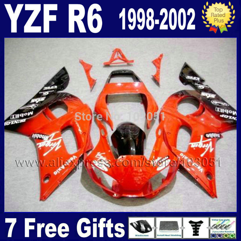 7gifts ABS plastic fairing for YAMAHA YZFR6 1998 1999 YZF600 02 00 99 98 red YZF R6  2000 2001 2002 fairings aftermarket parts