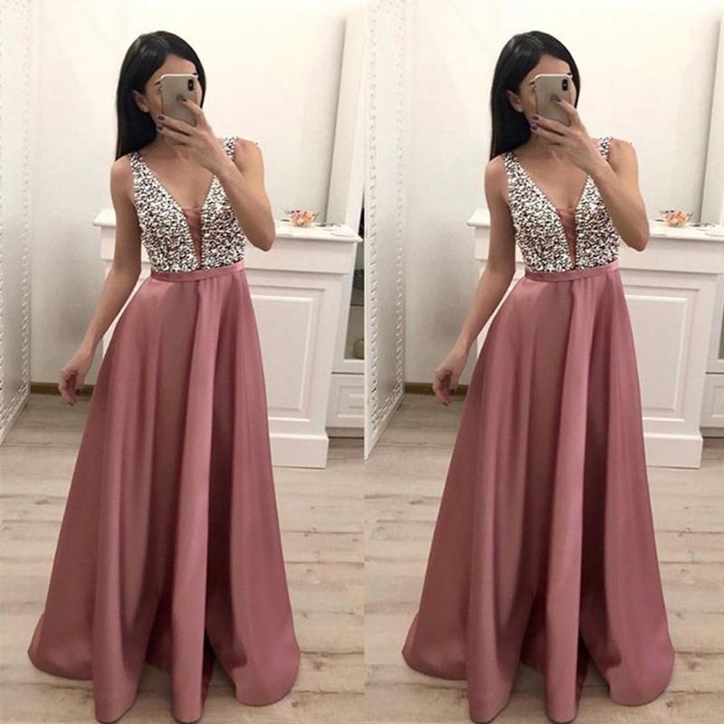 V-neck   Prom     Dresses   Long Smoke Pink Satin Sequins Beaded 2019 New Vestido De Formatura Longo Formal Party   Dresses   Custom Made